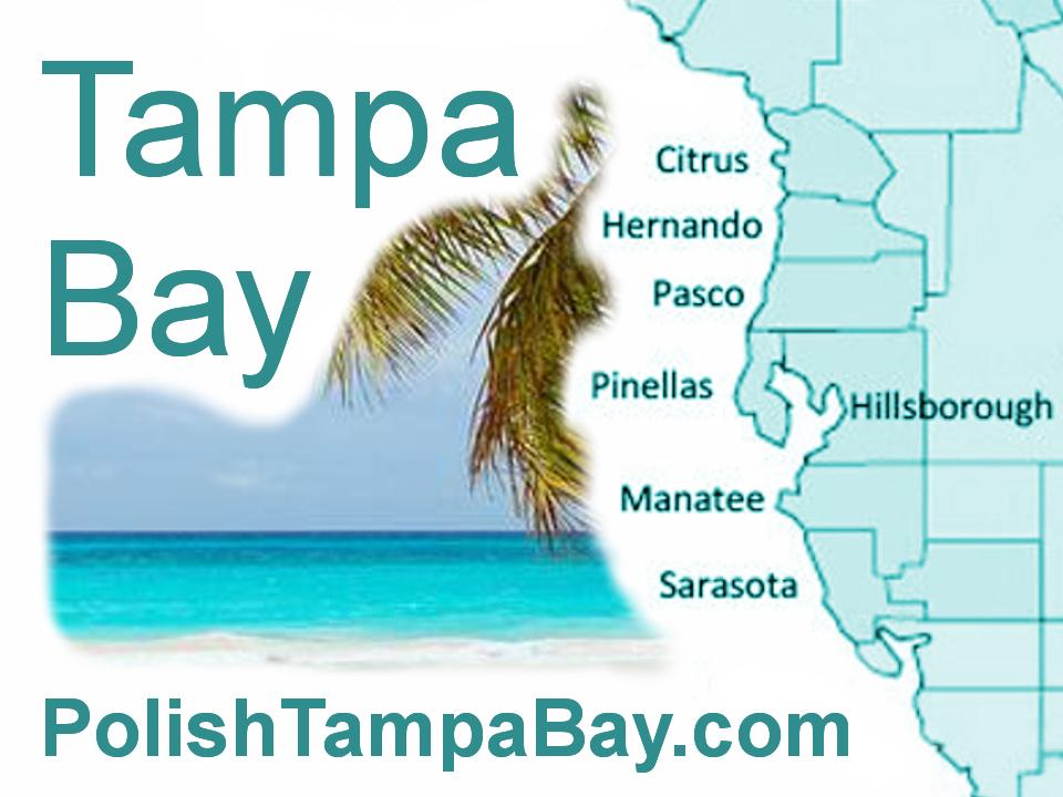 Polish Tampa Bay Map - Citrus, Hernando, Hillsborough, Manatee, Pasco, Pinellas, Sarasota